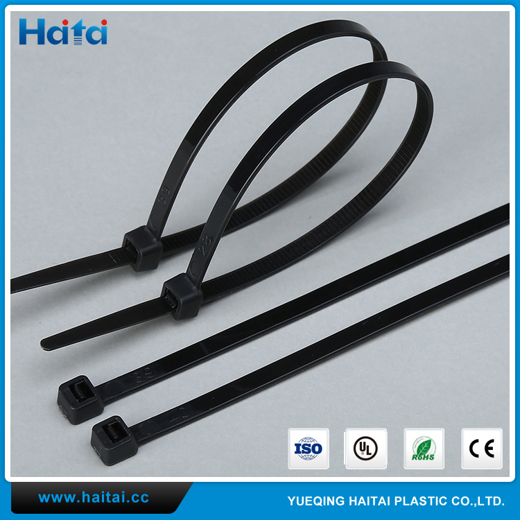 Haitai Plastic Zip Ties UL SGS CE Black Self Locking Strap Nylon Fabric Cable Tie