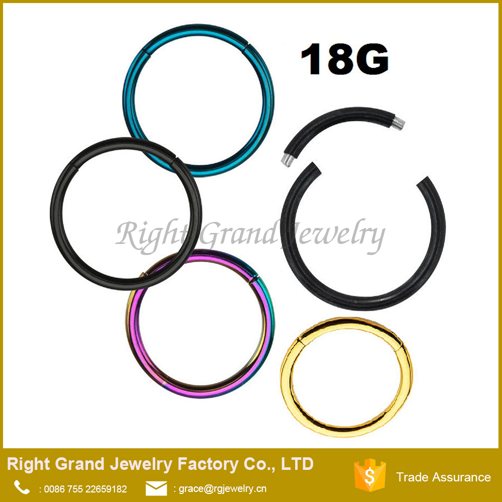 Titanium Anodized 316L Surgical Steel Cartilage Nose Round Segment Ring
