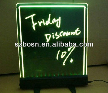 Acrylic price list sign with LED base;Acrylic Price Sign;