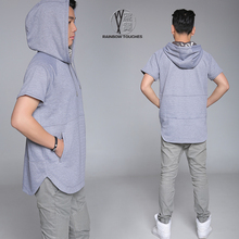 Wholesale plain mens short sleeves hoodies in grey