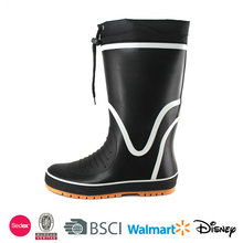 Men sailing rubber rain boots with lace cuff
