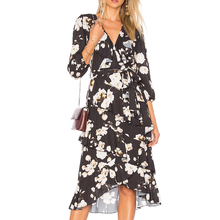 YL Fashion ladies casual floral print dress old women clothes long sleeve maxi dress for Wholesale custom