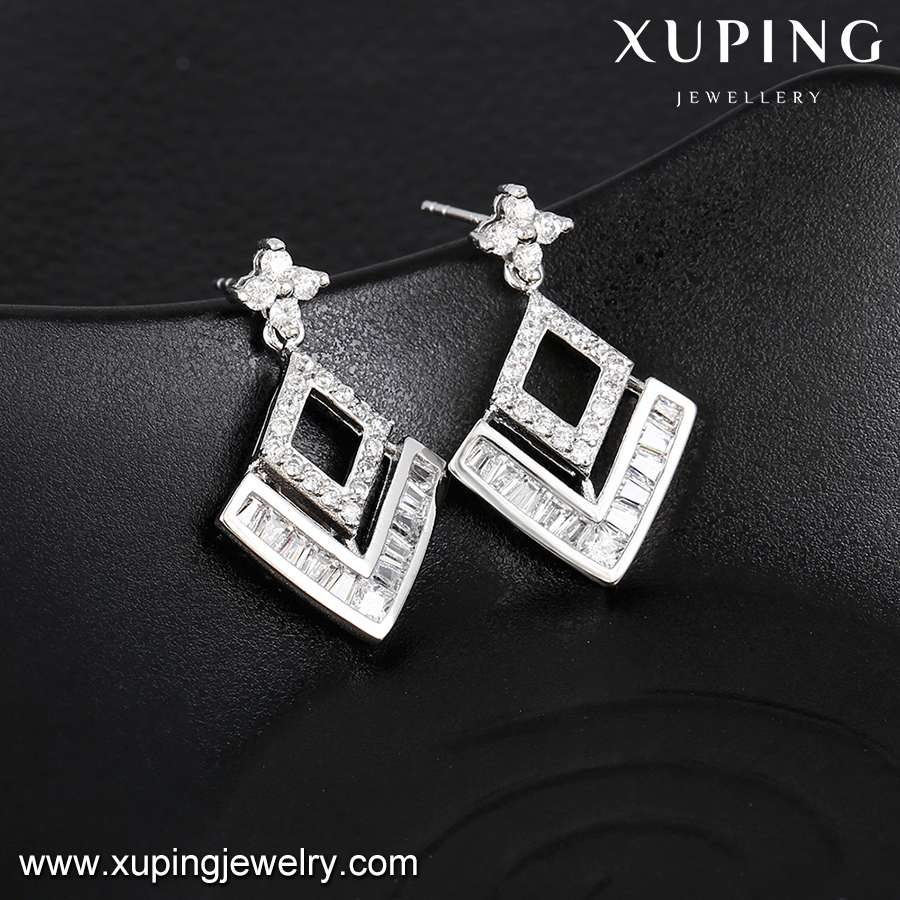 92560 xuping rhombus charm earring, artificial jhumke earring jewellery hollowed-up design