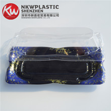 KW-0006SJ-B 2016 New Fashion disposable Ice Blue Plastic Frozen Sushi food tray with Clear Antifoging Lid