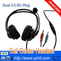New Double 3.5mm DC Jack Earphone for Service Center, 101D Noise Cancelling Microphone 3.5 DC Binaural Call Center Headset