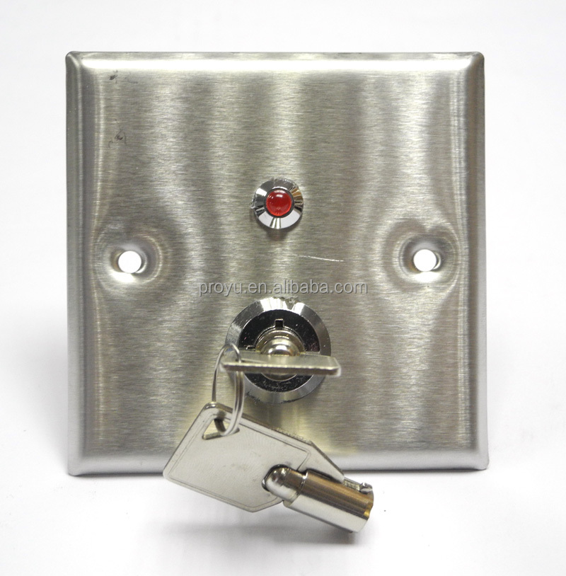 Hollow Door Release Eixt Button Switch Stainless Steel Emergency Key Switch.