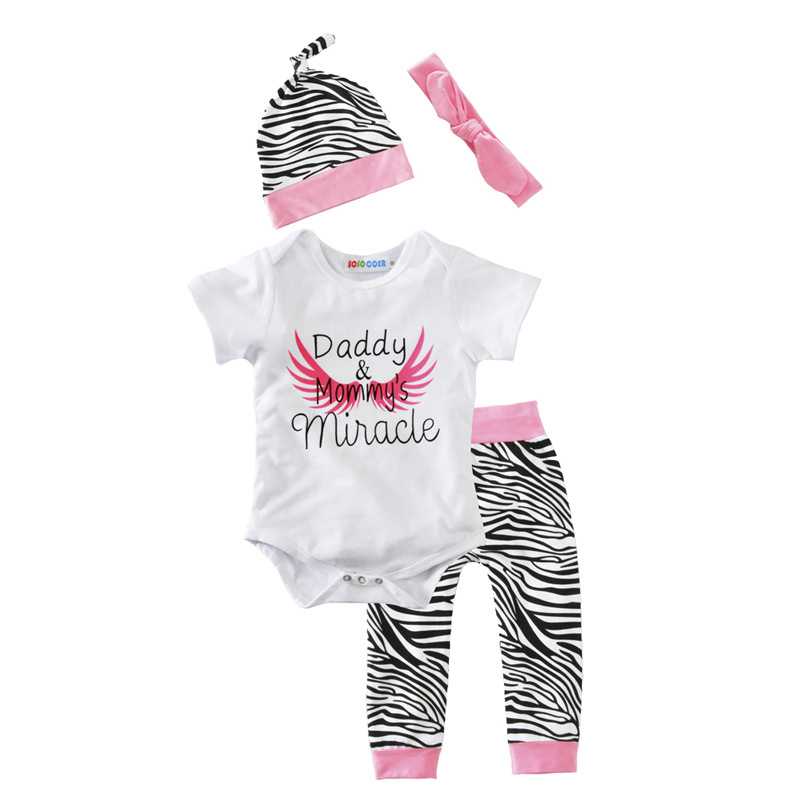 Latest Baby Girl White Romper+Pants+Cap+Headband 4 Pcs Kids Outfits Set