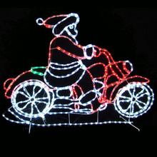 Outdoor LED rope light silhouettes motorcycle animated Christmas lights