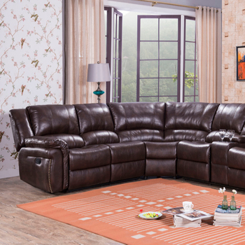 2019 living room furniture recliner corner sofa brown leather luxury  sectional sofa set, View corner sectional recliner sofa, HAOWANJIA Product  ...