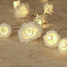 20LED Warm White Rose Flower Fairy String Lights 7.5 Feet Clear Cable Battery Powered for Valentine's, Wedding Decoration