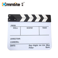 Acrylic Plastic Dry Erase Director's Colorful Film Movie Clapboard Clapper Board with Sticks(9.85x11.8 inch)