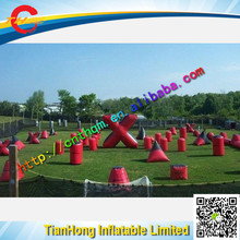 customized Inflatable Laser Tag bunker / red color shooting inflatable paintball bunker