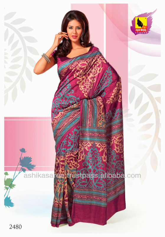Going by the traditional Indian culture Dark Pink color speaks volumes of it. This saree is engraved on Raw silm material.