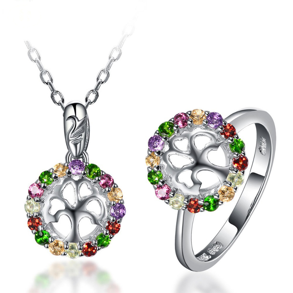 Multi-color Gemstones Family Tree Shaped Jewelry Sets 925 Sterling Silver Ring & Pendant