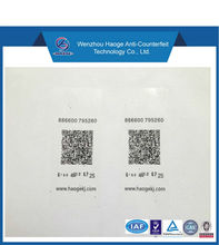 anti-counterfeit tamper resistant labels with barcode