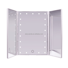 Three side rectangle folding table top vanity cosmetic mirror with light