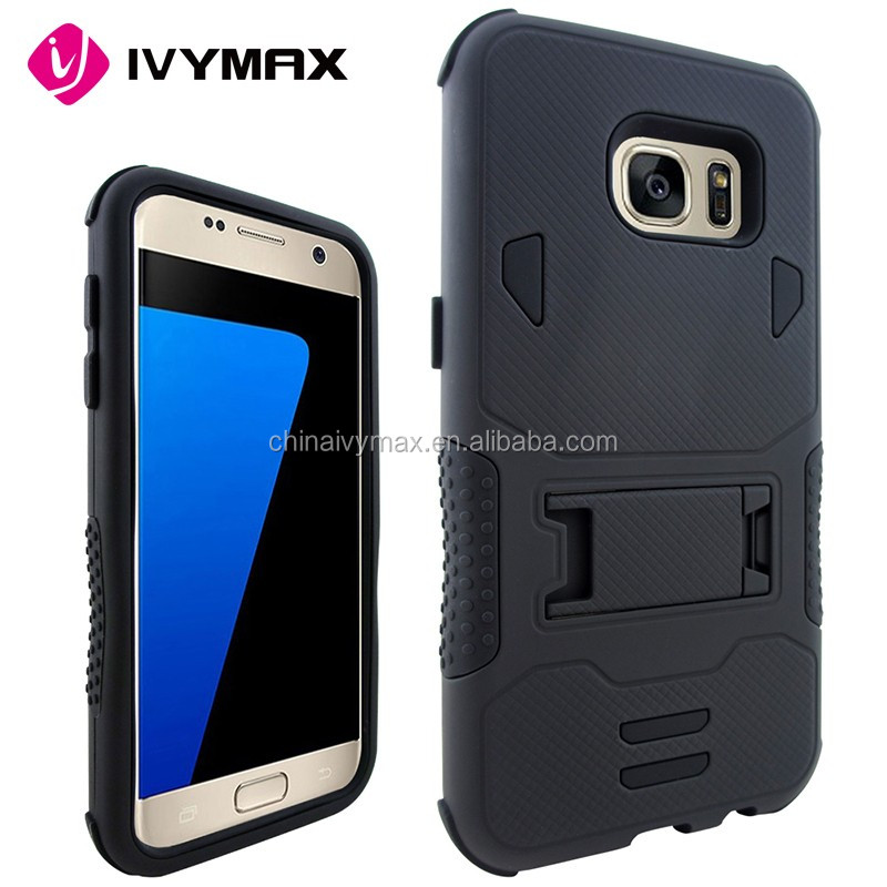 Shock proof dual layer silicone hard case for Samsung S7 kickstand case