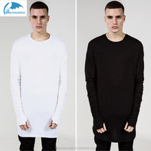 Enlongated hem add long sleeves 100%cotton in black and white ash render adults hip hop T-shirt