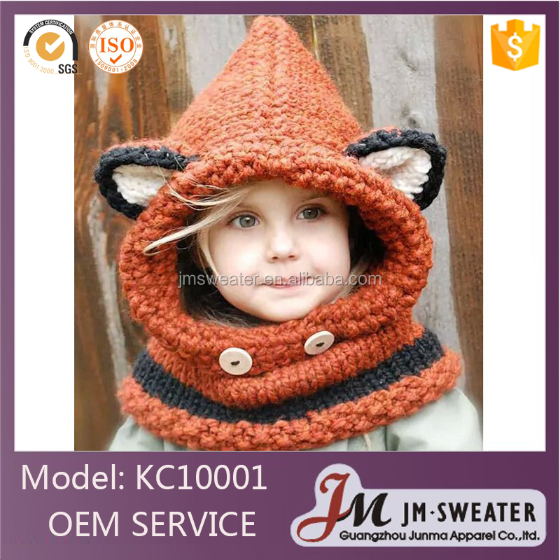 Custom made European design unisex warm winter knitted cap children caps fax bowler hat
