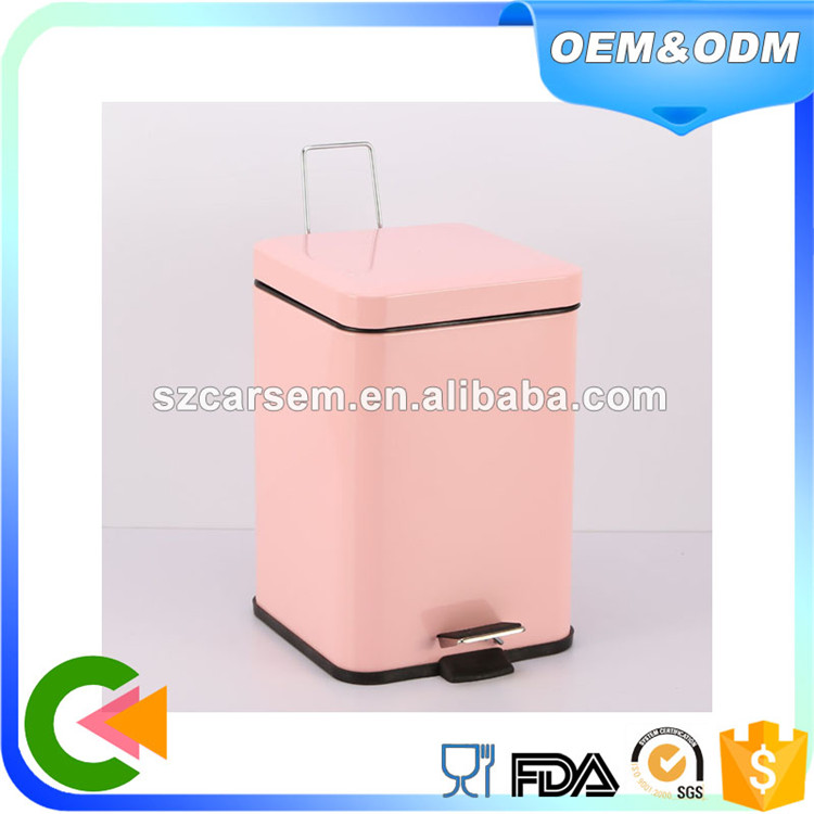 Pink color coating Stainless Steel square pedal trash bin