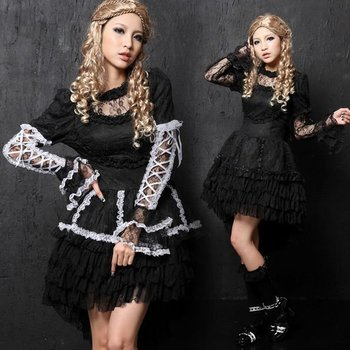PUNK GOTHIC LACE LOLITA IRREGULAR DRESS 61218
