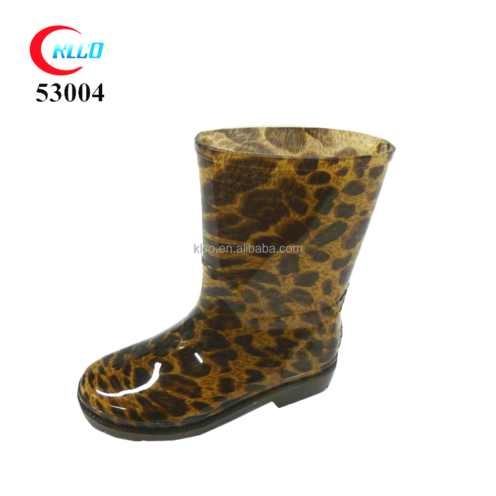 PVC cheap kids leopard clear rain boots for kids