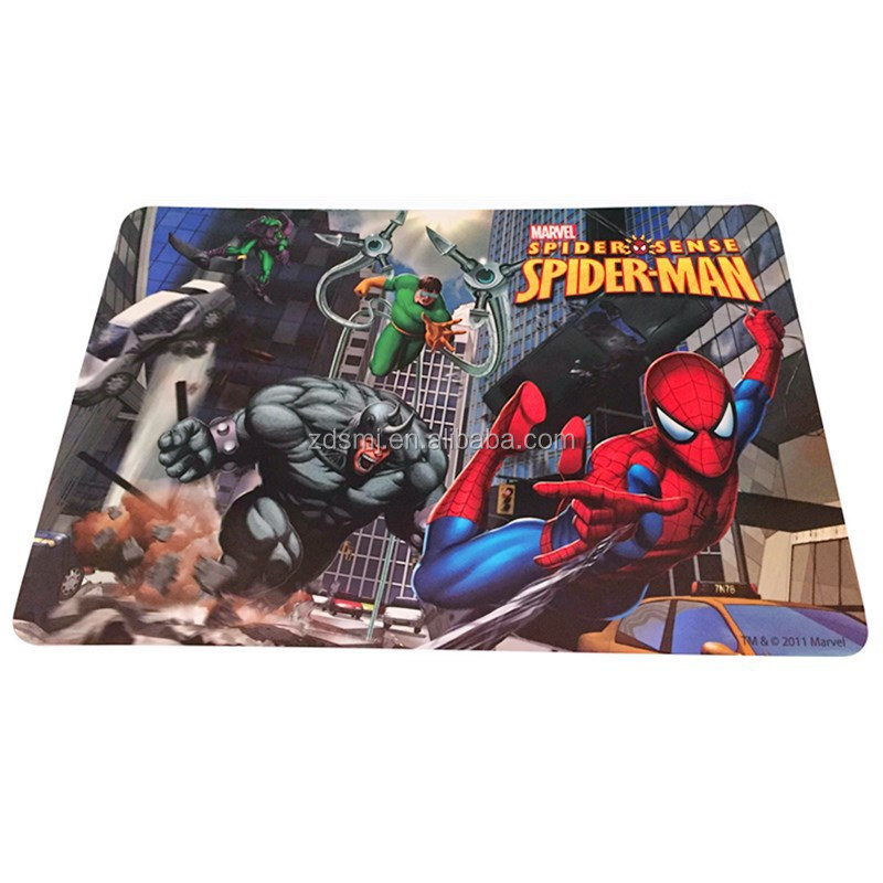 Spiderman pattern design plastic colorful placemat,pp dining table mat