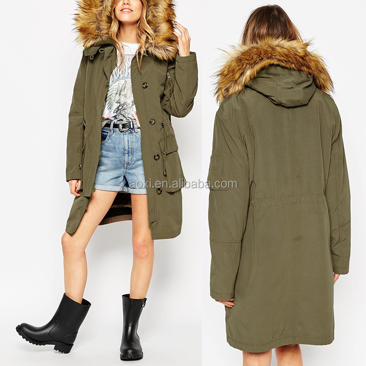 Oem service winter wear quitted linning hoodie women long trench parka coat