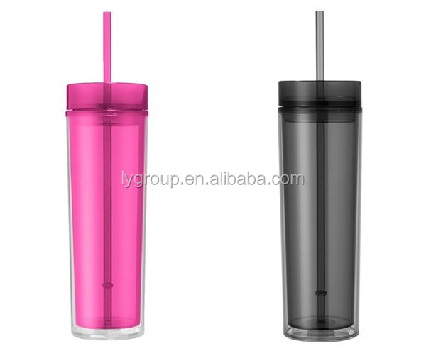 16oz skinny acrylic tumbler, bpa free skinny drinking tumbler with lid and straw, Cheap slim jim plastic tumbler with lid