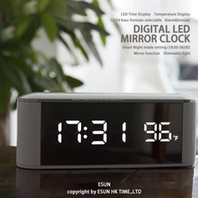 2017 Amazon Best Seller Digital Home Deco LED Alarm Mirror Clock With Temperature