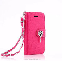 Luxury emboss flower rhinestone wallet case for apple iphone 6 cell phone accessories cover