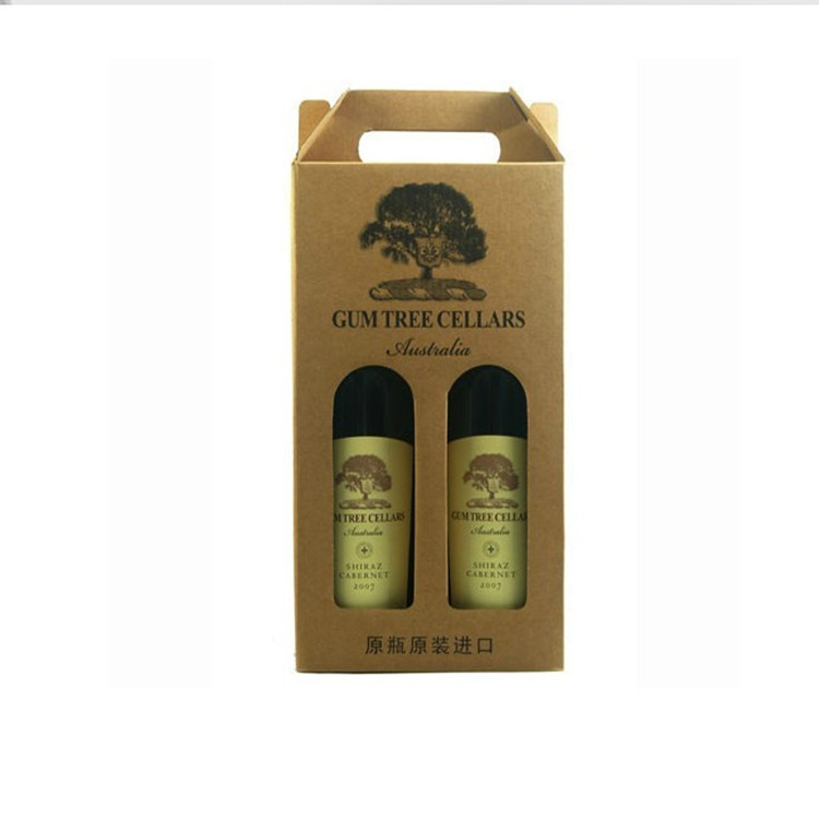 Yilucai custom brown kraft carton box 2 pack wine bottle carry