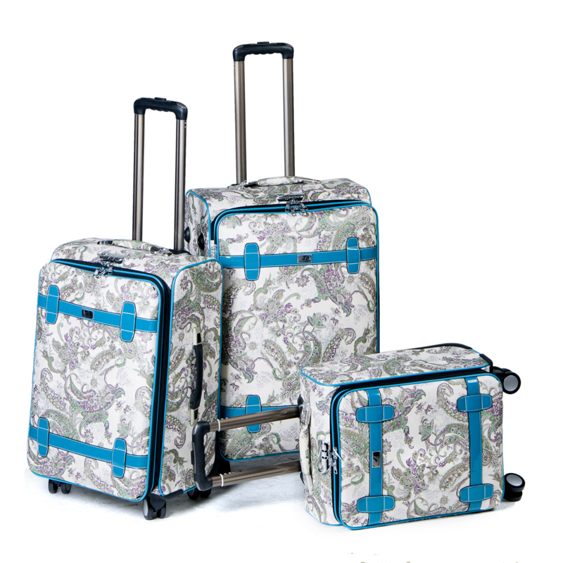 Aluminium trolley luggage travel bag with 4 wheels