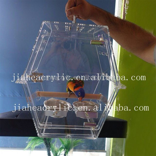 handmade acrylic decorative bird cage /big acrylic breeding cage with all accessories for bird