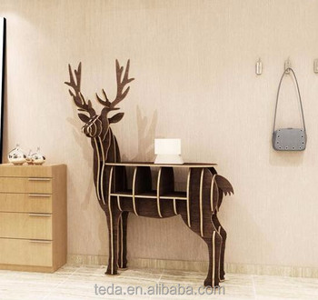wooden art mind musk deer stand free shelf for home decoration