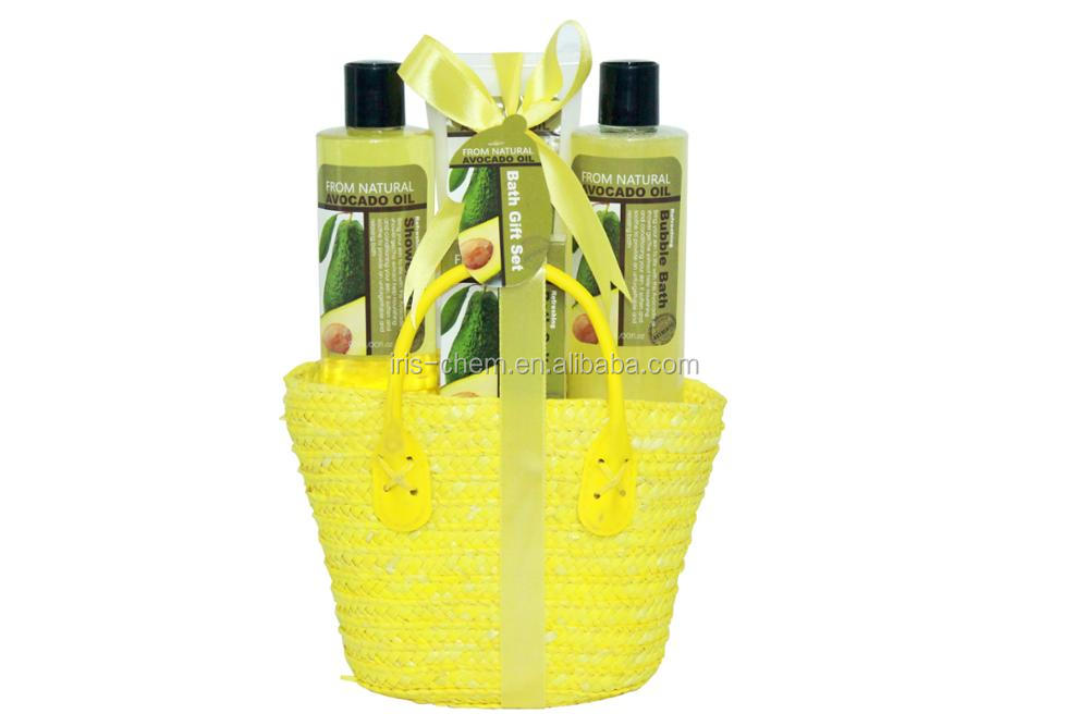 Walmart and watsons supplier bath gift set Avocado Oil perfumed shower gel,bubble bath,body lotion