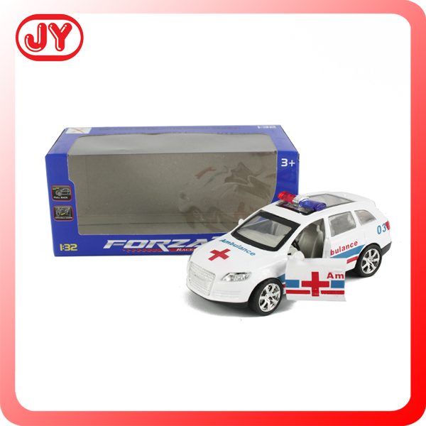 2015 new arrival 1:32 pull back die cast ambulance model car