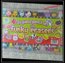 "7"" 24pcs HB Wooden Pencil Set With Funky Erasers Top"