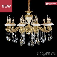 Wholesale European Hotel Bronze 10 lights Copper Crystal Natural jade pendant chandelier lighting
