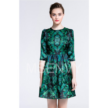 Women printed silk organza midi dress