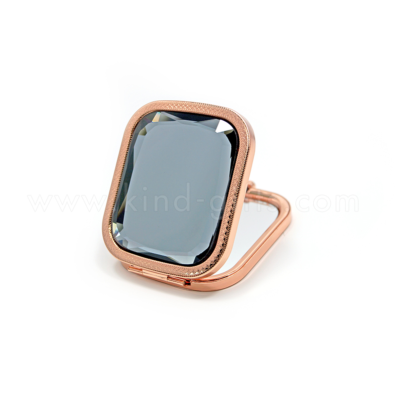 Glitter Germ Decorative Innovative Black Jeweled Available Handing Square Rose Gold Metal Compact Mirror