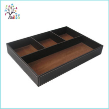 Supply China 4 Compartment Desk Valet Leather Storage Tray