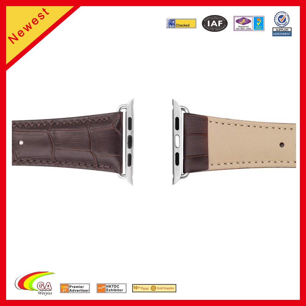 fashion brown leather strap for apple watch band stainless steel custom box