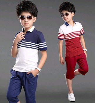 W10303G 2015 wholesale summer short sleeve shorts kids clothing sets