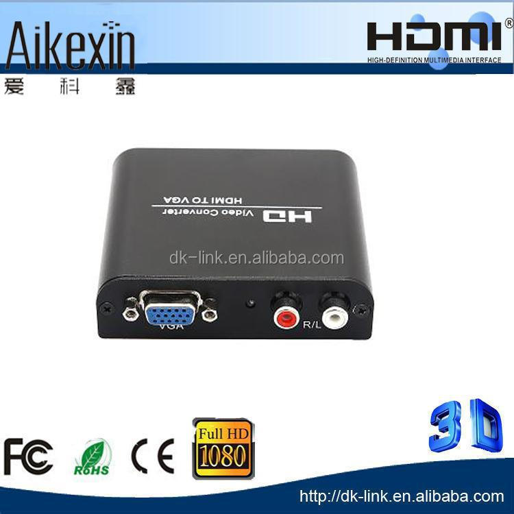 PC Laptop Computer HDTV HDMI to VGA Video Converter + R/L Stereo Audio + Power Adpater