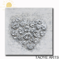 heart shape canvas foil painting wall art on canvas