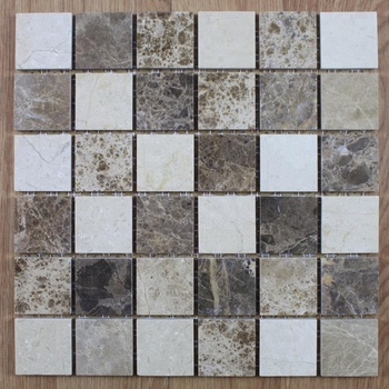 Decorstone24 Crema Marfil & Dark Emperador Marble Mosaic Tile For Wall And Floor