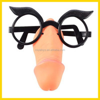plastic sexy male willy nose with eye glasses, adult novelty sex toy