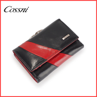 2016 contrast color wallet for women new designer high quality cowhide leather 3 fold ladies clutch purse bags cossni 512-9