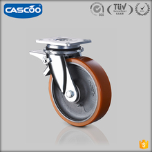 CASCOO 200mm 1 ton load capacity heavy duty industrial cart cast iron pu casters wheel